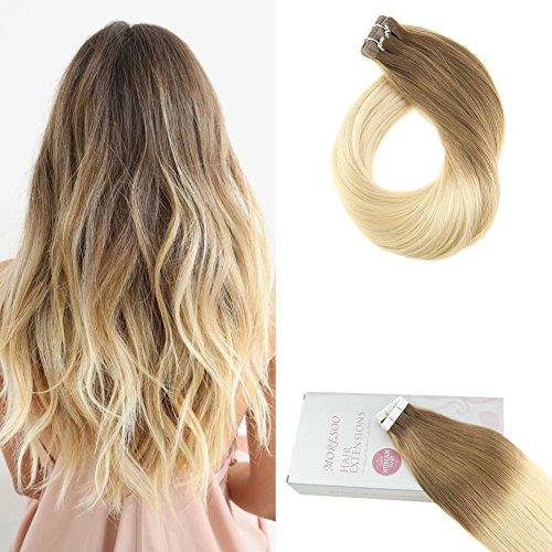 Moresoo Remy Echthaar Extensions Tape in Hair Extensions Echthaar Ombre Braun #6 zu #613 Blond Brasilianisches Haarverlängerung Two Tone Extensions 24/60 zoll 20pcs/50gramm