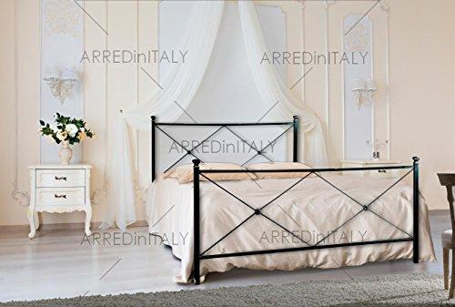 Letto matrimoniale in ferro colore nero grafite con pediera predisposto per rete con piedini 160 x 190 cm. non inclusa - prodotto made in italy - arr014
