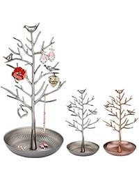 Itian Exhibición de la Joyería / Soporte, Soporte del árbol de la Joyería de Metal de la Vendimia, para Almacenar los Pendientes, Collares, etc.(Vieja Plata)
