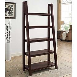 Samson 5 Tier Classic Design Freestanding Brown Wooden Homeoffice Edmund Ladder Bookcase