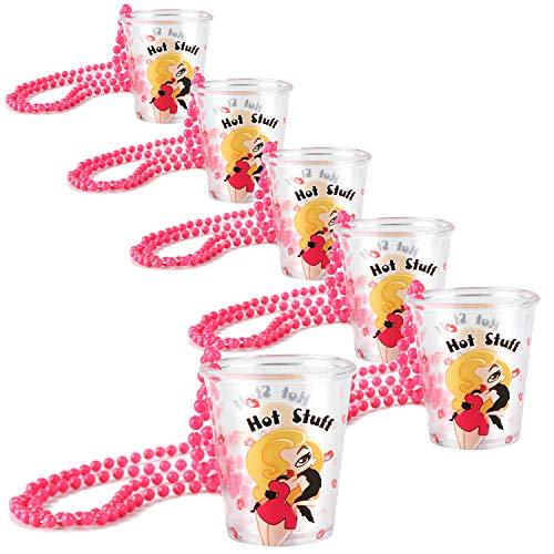 sgläser mit Kette zum Umhängen - Zubehör für Junggesellenabschied - ideal für Karneval, Fasching, JGA etc - 50 ml (6 Stück -