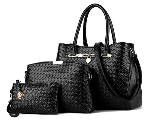 Tibes Mode Kunstleder Frauen Handtasche + Umhängetasche + Geldbörse 3er-Pack Tasche Tote Umhängetasche Schwarz (3 Tote Tasche)