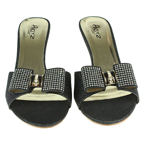 Femmes Dames Arc Detail Glisser sur Soir De mariée Mariage Fête Bal de promo Open Toe Mid Heel Sandales Chaussures Taille Noir