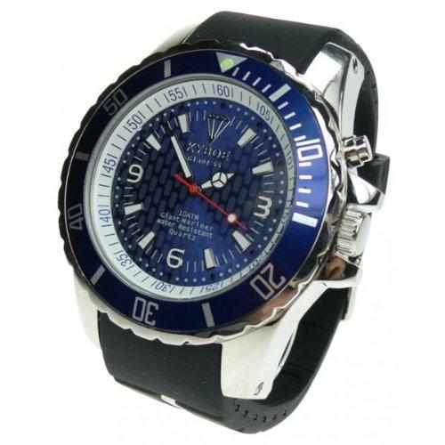 Kyboe! Plata Reloj de Cuarzo Análogo de los hombres de caucho de color azul KY-008