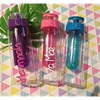 Water Bottle pink or purple or blue Personalised with love 1 name for school summer gym holiday island