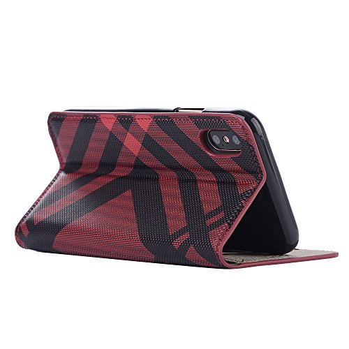 iPhone X Hülle, Valenth Leder Gitter Muster Brieftasche Cover [Card Slots] Protective Hülle Cover für iPhone X Rot