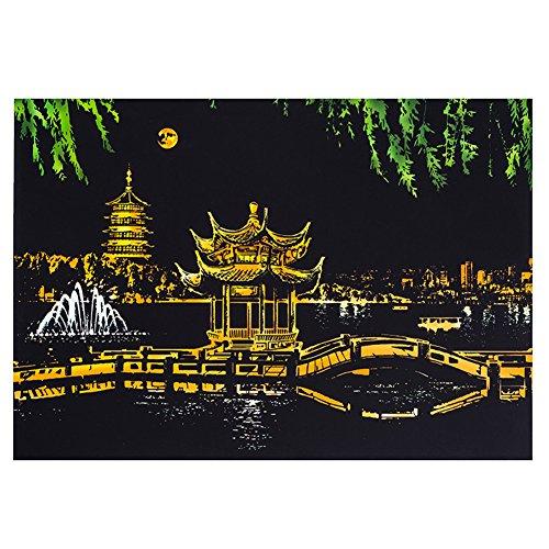 MeterMall Fr¨¹he Bildung Kreative DIY Scratch Bright City Night View Scraping Malerei Welt Sightseeing Bilder als Geschenke Hangzhou West Lake Night View Serie