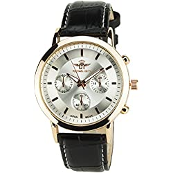 MICHAEL JOHN -MENS WATCH SILVER ROSE GOLD QUARTZ Stainless steel Case Analog Display FAUX LEATHER BLACK BAND