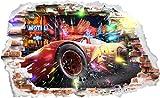 Interpaw Autos Cars 3D McQueen Cartoon Smashed Wandaufkleber Für Schlafzimmer Jungen und Mädchen Wandbild Aufkleber Größe: Groß 93 cm X 57 cm