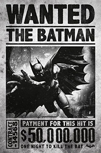 Batman Arkham Origins Wanted - Poster di Batman, motivo: 50,000,000 $ - Poster grande dimensioni (91,5 cm x 61 cm)