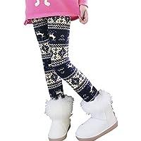 MORESAVE Bambini ragazze del fiocco di neve Renna foderato in pile Leggings spessore inverno pantaloni