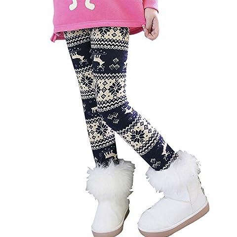 MORESAVE Kinder Mädchen Schneeflocke Rentier Fleece gefütterte Leggings Winter Dicke Hosen, Dark Blue, 4 Jahre