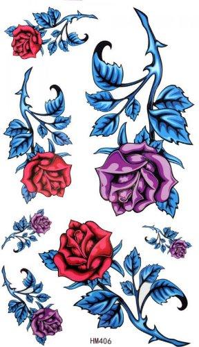 Étanche faux tatouages rose pourpre rose rouge