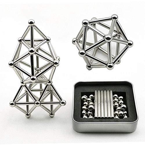 Kingchenen magnetic building blocks set giocattoli da scrivania scultura per adulti puzzle giocattoli da rilievo con stick di magnete e sfera d'argento (63 pcs)