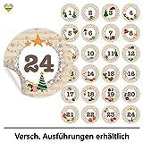 24 Adventskalender-Zahlen (Aufkleber Etiketten Sticker) | Romantic Snow Dekor | Schrift: Butterkeks | Rund | XL » Ø 85 mm | Creme-Beige | FB0013-01