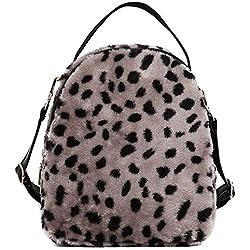 STRIR-Mochila Mujer Mochila leopardo Pana y PU Mochila Escolar Mochila Casual Mochila de Moda (Marrón)