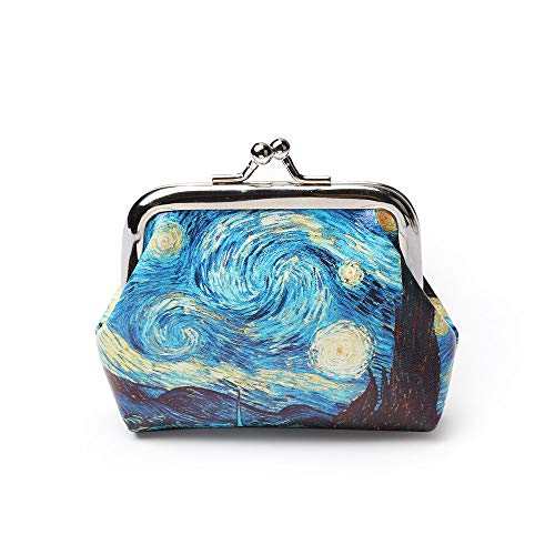 RQWY Portamonete 1 PZ Famoso Van Gogh Stampa di Olio Piccolo Raccoglitore Per Le Donne Paesaggio Modello di Fiore Mini Hasp Portamonete Portamonet