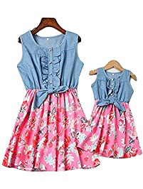 Loalirando Madre e Hija Vestidos de Verano Estampado Floral Vestidos Familiares Mangas Cortas Vestido de Princesa