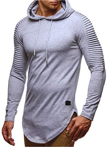 LEIF NELSON Herren Kapuzenpullover Slim Fit Baumwolle-Anteil   Moderner weißer Herren Hoodie-Sweatshirt-Pulli Langarm   Herren schwarzer Pullover-Shirt mit Kapuze   LN6369 Grau Large -