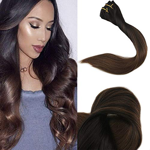 0 Pcs 140 Gram Balayage Hair Extensions Clip in Extensions Haarverlängerung Ombre Farbe #1B Fading to Colour #4 Dark Brown Remy Hair Clip in Extensions Haarverlängerung ()
