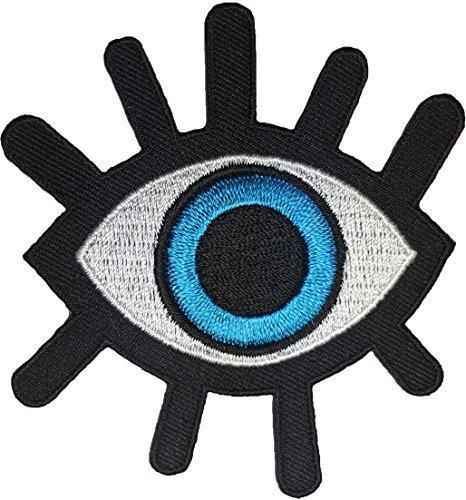 Engel Flügel Kostüm Todes - Eyeball Tattoo Punk Rock Retro Applikation Aufnäher Bügelbild Aufbügler bestickt Blau (EYE-BLUE)