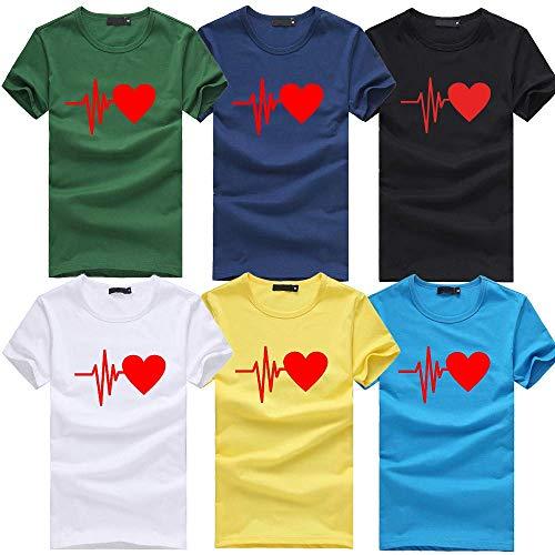 Damen T Shirt, CixNy Bluse Damen Kurzarm Sommer Mode Locker Ärmelloses Herz Drucken Lässig O Hals Oberteil Tops (6-Rot, Medium)