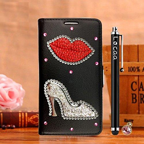 Locaa(TM) Pour Apple IPhone 6 IPhone6 4.7 inch 3D Bling Case Coque Étui Cadeaux Fait Cuir Qualité Housse Chocs Couverture Protection Cover Shell Etui Romantique [Couleur 1] Rose - Fleur ange Noir - Lèvres