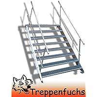 Inklusive Zubeh/ör Robuste Au/ßentreppe 5 Stufen Stahltreppe mit einseitigem Gel/änder Stabile Industrietreppe f/ür den Au/ßenbereich Breite 60cm Geschossh/öhe 70-105cm Wangentreppe