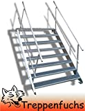 8 Stufen Stahltreppe mit beidseitigem Geländer / Breite 100 cm Geschosshöhe 120-160cm / Robuste Außentreppe / Wangentreppe / Stabile Industrietreppe für den Außenbereich / Inklusive Zubehör