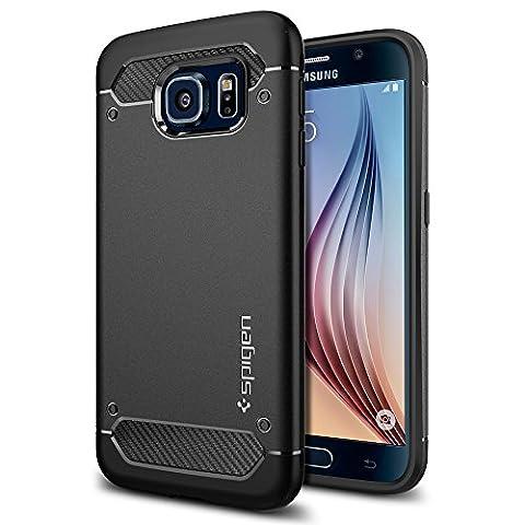 Samsung Galaxy S6 Hülle, Spigen® [Rugged Armor] Elastisch [Schwarz] Ultimative Schutz vor Stürzen und Stößen - [Karbon Look] Schutzhülle für Samsung S6 Case, Samsung S6 Cover, Galaxy S6 Case, Galaxy S6 Cover - Black