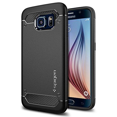 Samsung Galaxy S6 Hülle, Spigen® [Rugged Armor] Elastisch [Schwarz] Ultimative Schutz vor Stürzen und Stößen - [Karbon Look] Schutzhülle für Samsung S6 Case, Samsung S6 Cover, Galaxy S6 Case, Galaxy S6 Cover - Black (SGP11439)