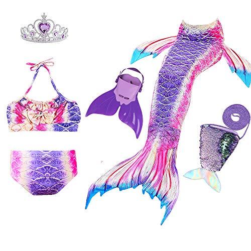 S Mädchen Cosplay Kostüm Badenbkleidung Meerjungfrauen Schwimmanzug Badeanzüge Meerjungfrauenschwanz für Schwimmen Kinder Farbewahl ()