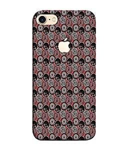PrintVisa Designer Back Case Cover for Apple iPhone 7 (Logo View Window Case) (Backdrop Creative Dark Floral Decor Decoration Beautiful Decorative)