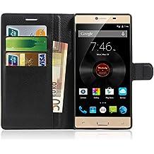 Elephone M2 Funda , Anzhao Funda de Cuero Piel Carcasa con Ranuras para Tarjetas para Elephone M2 (Negro)