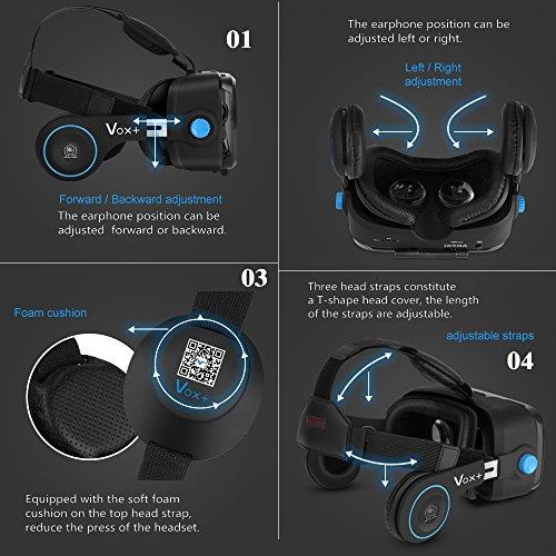 Vox VR Headset Weihnachtsgeschenk Videobrillen 3D Headset mit Einstellbar Brennweite 3D VR Brille Einstellbar Virtuelle Realität Box Brille Virtual 3D Reality Glasses VR World Head Mounted 3D Filme Für Android & iOS Empfohlene Größe ist 4-6,2 Zoll 2017