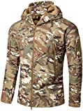 TACVASEN Wasserdicht Herren Jagdjacke Outdoor Fleece Jagd Jacke Camo Waterproof Fleecejacke Men's Camouflage Jacket Woodland