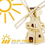 Robotime 3D Wooden Puzzle Windmill Solar Power Energy Toys for Boys and Girls DIY Kit Jigsaw Toy for Kids (Windmill-1) - Robotime - amazon.co.uk