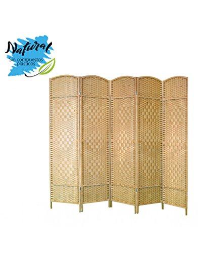Biombo Separador de ambientes, Natural de Bambú y Papel Trenzado, par