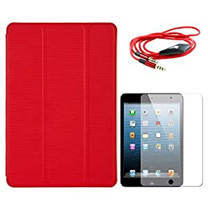 VG Ultra Thin Protective Smart Case Cover with Sleep Mode and Stand for Apple iPad Mini (Red) + AUX Cable + Matte Screen
