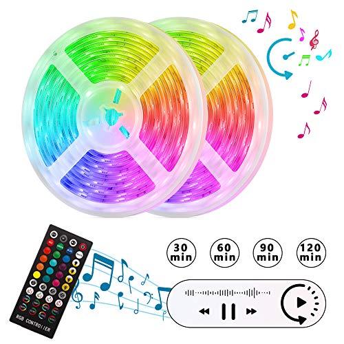 LED Streifen Lichter/zeitgesteuerte Lichtbänder/300 LED Stripes 10M/Sync mit Musik/selbstklebende Lichterketten/dimmbare Dekorative Beleuchtungen/SMD 5050 RGB LED Leisten/IP64/Schneidbar-5M X 2 Rollen -