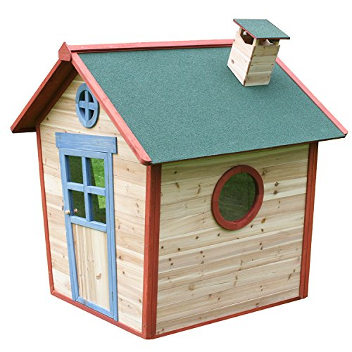 Redwood Lodge Childrens Wooden Playhouse, Painted Garden Crooked Wendy Play House, Thicker Fir Wood, 5 x 4