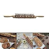 OENLY Weihnachten Holz Nudelhölzer graviert Prägenudelholz mit Weihnachten Symbole für Backformen Bereich Fondant Kuchen Teig Keks (35 × 5 cm)