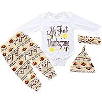 BESTOYARD Outfit Infantile Ringraziamento Costumi Pagliaccetto Manica Lunga Pantaloni Floreali Cappello e Fasce 100cm (Bianco)