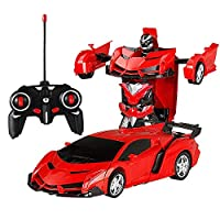 Yeldou Remote Control Car, Toys Transformers Robot Wall Climbing Car 360° Rotating with One-Button Deformation Function & LED Lights RC Cars Toy for Kids Boys Girls