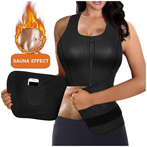 Gotoly Damen Corsage Korsett Bauchweg Taillenkorsett abnehmen Shirt Taillenformer Fitness (Schwarz, 4XL Fit 52-54) (Taillenkorsett Gummi)