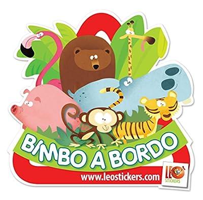 LeoStickers® Autocollant pour voiture avec inscription «Bimbo a bordo» (en langue étrangère) Extra visibilité également sur vitres teintées. Bébé à bord–Baby on Board.