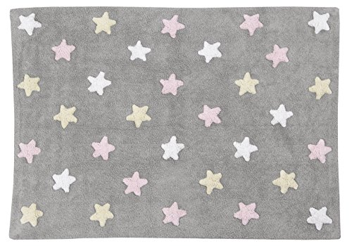 Alfombra lavable Lorena Canals diseño estrellas tricolor