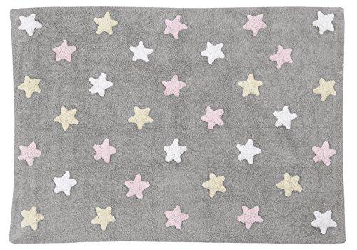 Lorena Canals Tricolor estrellas alfombra lavable (gris/rosa)