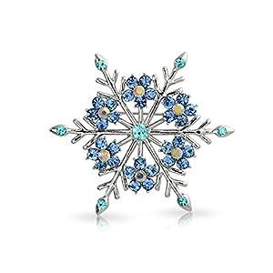 Bling Jewelry Große Winter Aqua Blau Blaugrün Kristall Urlaub Ferienwohnung Schneeflocke Broschen & Anstecknadeln Für Damen Versilbert