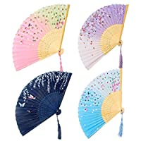 GoMaihe Fabric Folding Fan Handheld Set of 4, Women Hand Held Fan with Tassleand Printing Cloth Bag, Cherry Blossoms Bamboo Chinese Fans for Home Office Wall DIY Decoration Wedding Favors